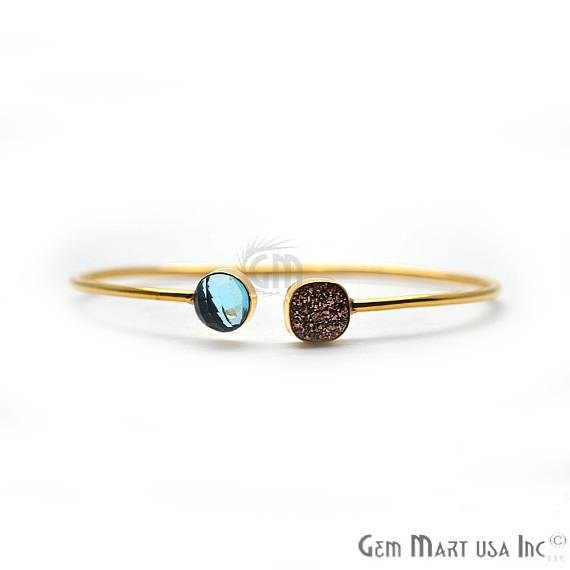 Blue Topaz & Rose Gold Druzy Round & Cushion Shape Handmade Adjustable Gold Plated Stacking Bangle Bracelet (DSBA-19264)