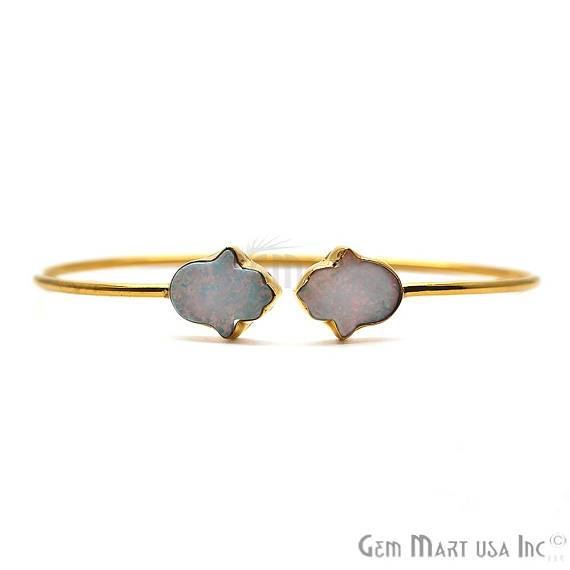 Opal Gemstone Hamsa Shape Adjustable Gold Plated Stacking Bangle Bracelet