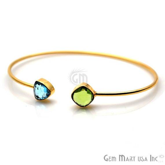 Blue Topaz & Peridot Trillion & Cushion Shape Adjustable Gold Plated Stacking Bangle Bracelet