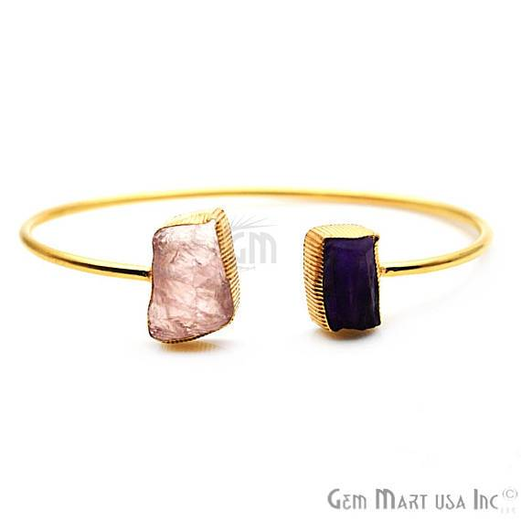 Amethyst & Rose Quartz Adjustable Gold Plated Stacking Bangle Bracelet