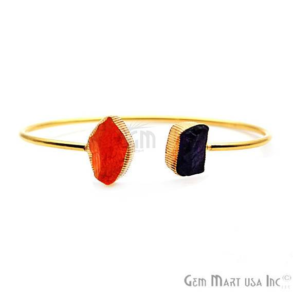 Carnelian & Rose Quartz Handmade Adjustable Gold Plated Stacking Bangle Bracelet (DSBA-19271)
