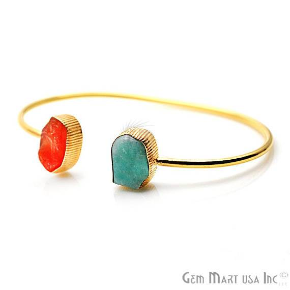 Carnelian & Amazonite Adjustable Gold Plated Stacking Bangle Bracelet