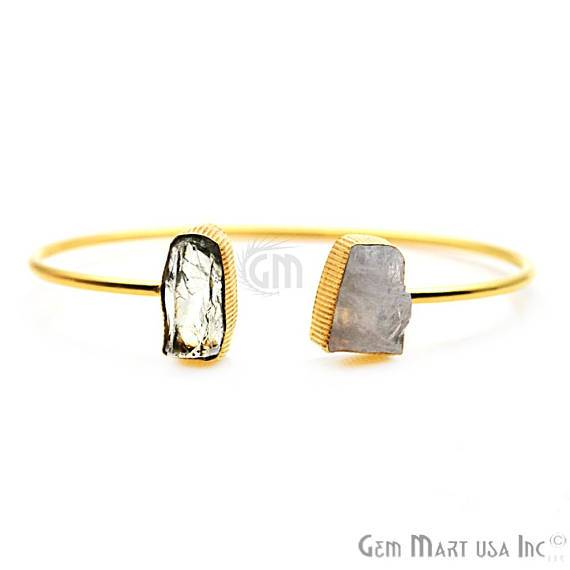 Rainbow Moonstone & Green Amethyst Handmade Adjustable Gold Plated Stacking Bangle Bracelet (DSBA-19273)