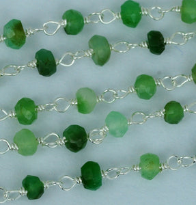 Chrysoprase 3-3.5mm Silver Plated Wire Wrapped Beads Rosary Chain