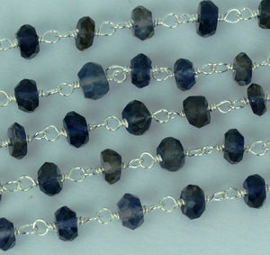Iolite Silver Plated Wire Wrapped Beads Rosary Chain
