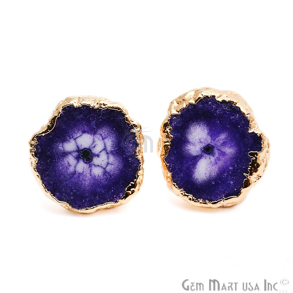 Round Shape 18mm Gold Plated Druzy Stud Earrings (Pick your Gemstone) (DZST-4)