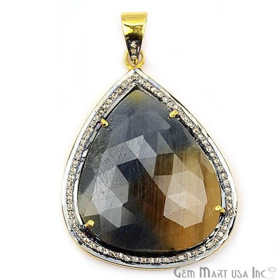 Natural Diamonds Wonder Sapphire 39X30mm Gold Vermeil Over Sterling Silver Pendant
