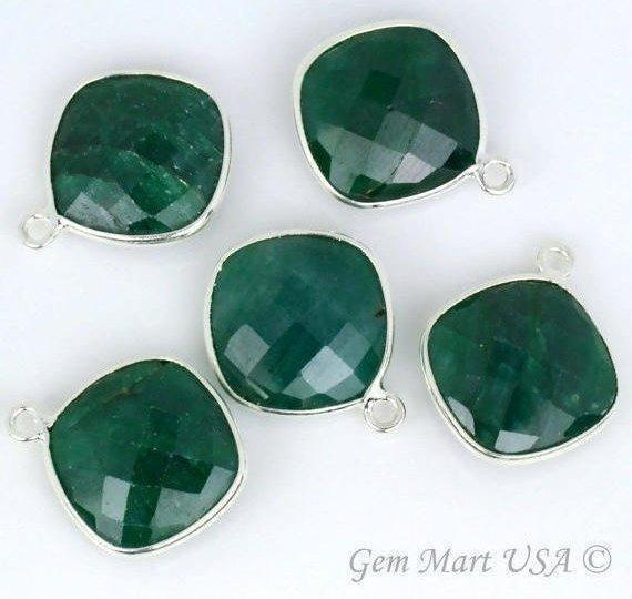 Cushion Shape 14mm Gemstone Connector, Bezel Connector (Pick your Gemstone, Plating, Bail) (SH-10134-1)