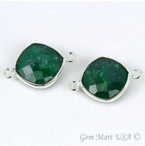 Cushion 12mm Silver Bezel Double Bail Gemstone Connector (Pick Stone & Lot Size) - GemMartUSA