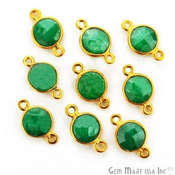 Round Shape 6mm Gemstone Bezel Connector (Pick your Gemstone, Plating, Bail)