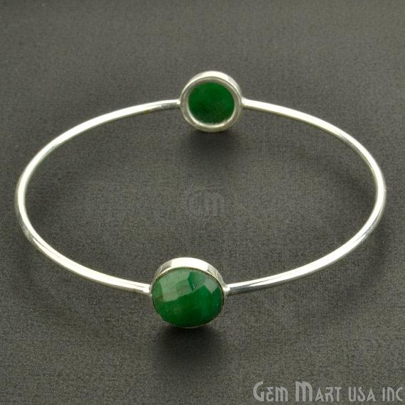 Natural Emerald 10mm Round Shape Silver Plated Stacking Bangle Bracelet