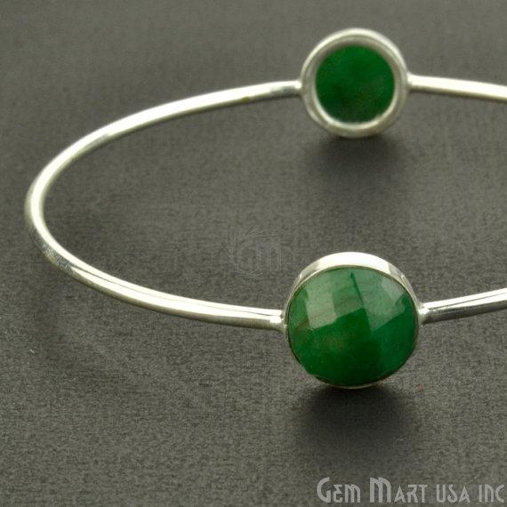 Handcrafted Gold Plated 2pc Natural Emerald 10mm Round Shape Stacking Bangle Bracelet (EMBA-19016)