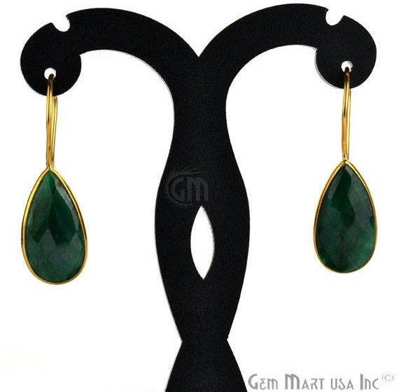 Pear Shape 21x11mm Gold Plated Gemstone Hook Earrings (Pick your Gemstone) (90019-1)