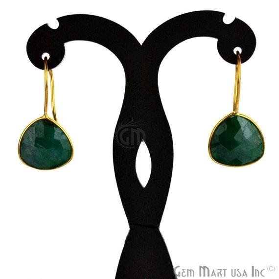 Trillion Shape 15mm Gold Plated Gemstone Hook Earrings (Pick your Gemstone) (90031-1)