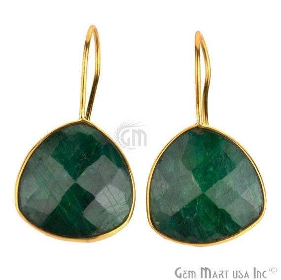 Trillion Shape 19mm Gold Plated Gemstone Hook Earrings (Pick your Gemstone) (90033-1)