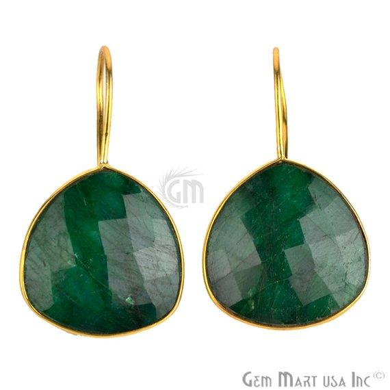 Trillion Shape 21mm Gold Plated Gemstone Hook Earrings (Pick your Gemstone) (90034-1)