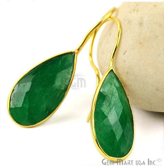 Gold Plated Pears 11x35mm Gemstone Dangle Hook Earring Choose Your Gemstone 1Pair