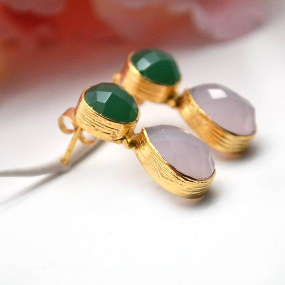 Round & Pears Shape 25x10mm Gold Plated Gemstone Dangle Post Earring Choose Your Style (GDER-5)