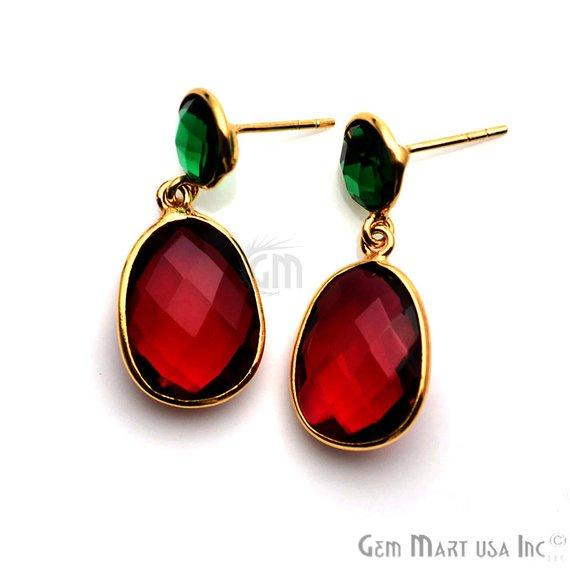 Gold Plated Round & Oval 30x13mm Gemstone Dangle Stud Earring 1Pair (Pick Your Stone)