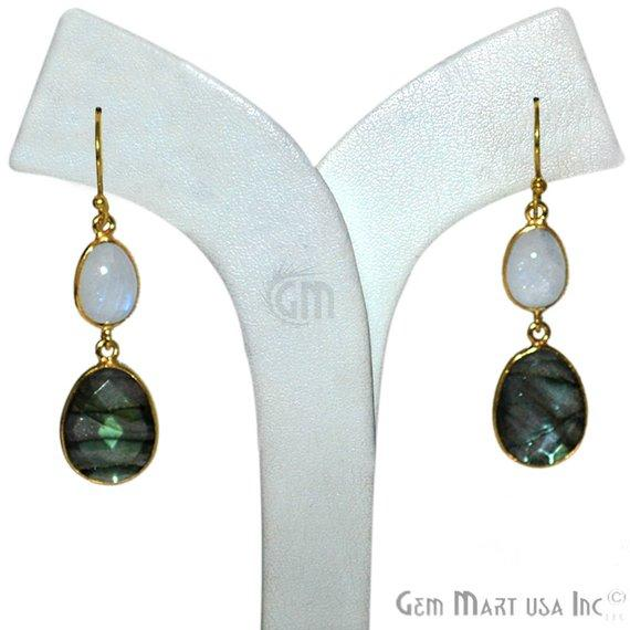 Oval Shape 37x13mm Gold Plated Gemstone Dangle Hook Earring Choose Your Style (GDER-4)