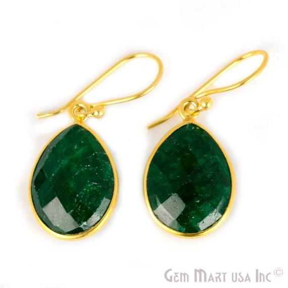 Pear Shape 12x16mm Gold Plated Gemstone Hook Earrings (Pick your Gemstone) (90002-1)
