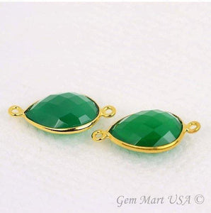 Pear 12x16mm Double Bail Gold Bezel Gemstone Connector
