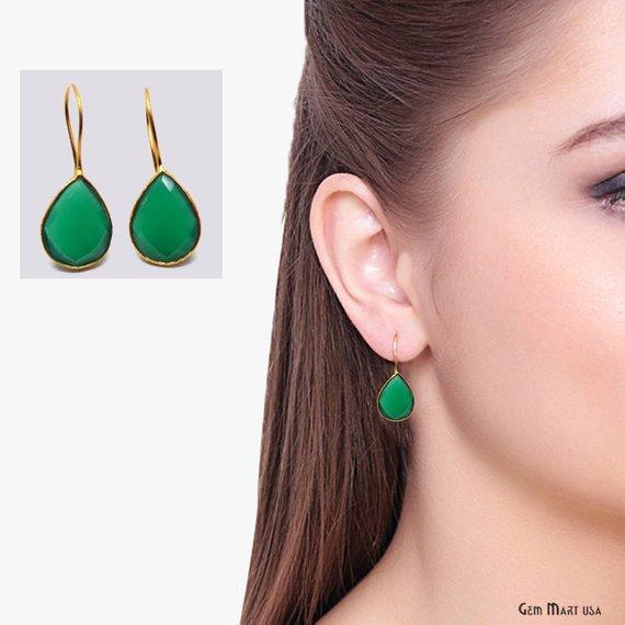 Pear Shape 17x13mm Gold Plated Gemstone Hook Earrings 1 Pair (Pick your Gemstone)