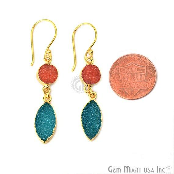Double Druzy 48x8mm Gold Plated Dangle Hook Earrings (Pick your Gemstone) (90127-1)