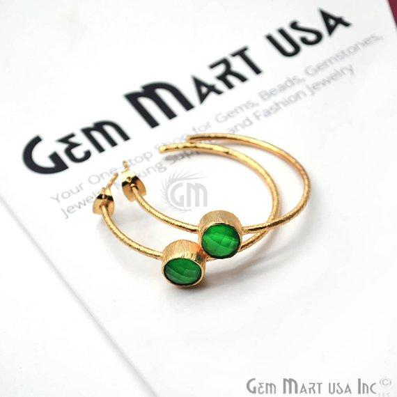 green onyx gemstone hoop earring