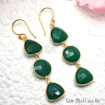 Gold Plated Trillion & Round Shape 45x13mm Dangle Hook Earring Choose Gemstone (90227-1)