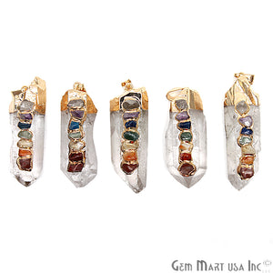 DIY 7 Chakra Crystal Pendant, Gold Electroplated Pendant, Rough Crystal Pendant, Gemstone Pendant (GP7C-50001)