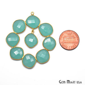 Aqua Chalcedony 52x45mm Gold Plated Bezel Earring Connector Component (1pc) - GemMartUSA