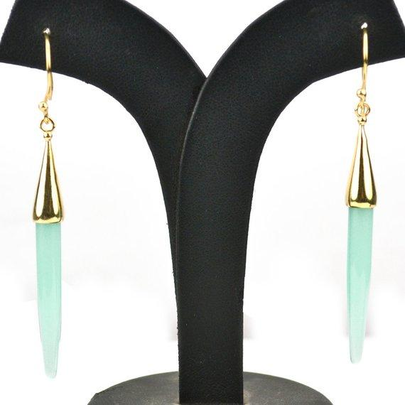 Gold Plated Spike Shape 67x5mm Gemstone Dangle Hook Earring Choose Your Style (90006-1)