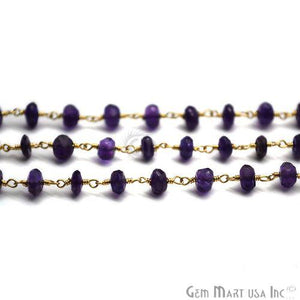 Amethyst Beads Gold Plated Wire Wrapped Rosary Chain