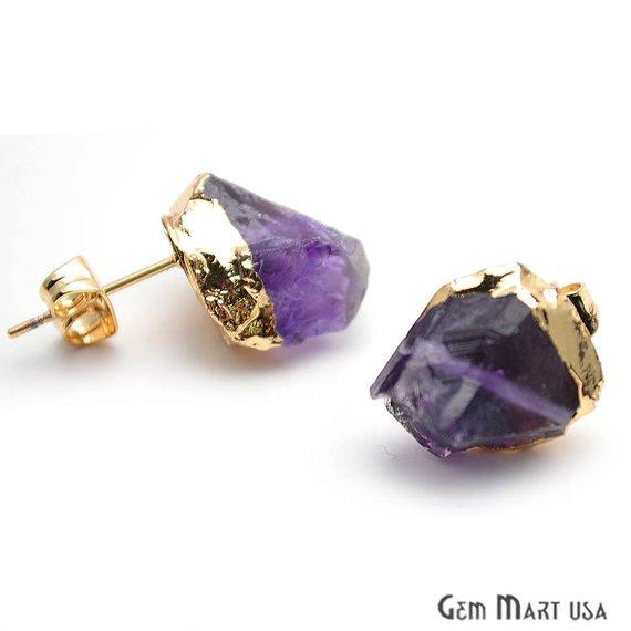 Raw Amethyst Gemstone Studs, Organic Earring, Gold Edged Studs Earring 1 Pair (GPAM-90002)