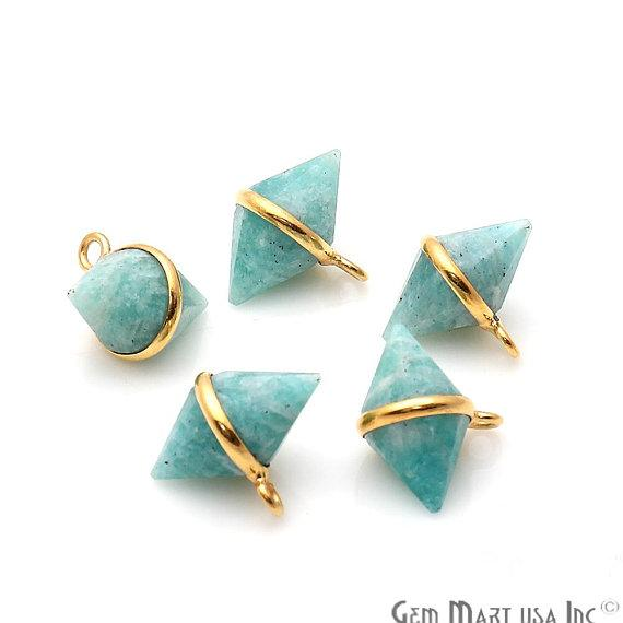Amazonite Double Cone Gold Plated Single Bail Bracelet Charms Connector (GPAZ-50100)