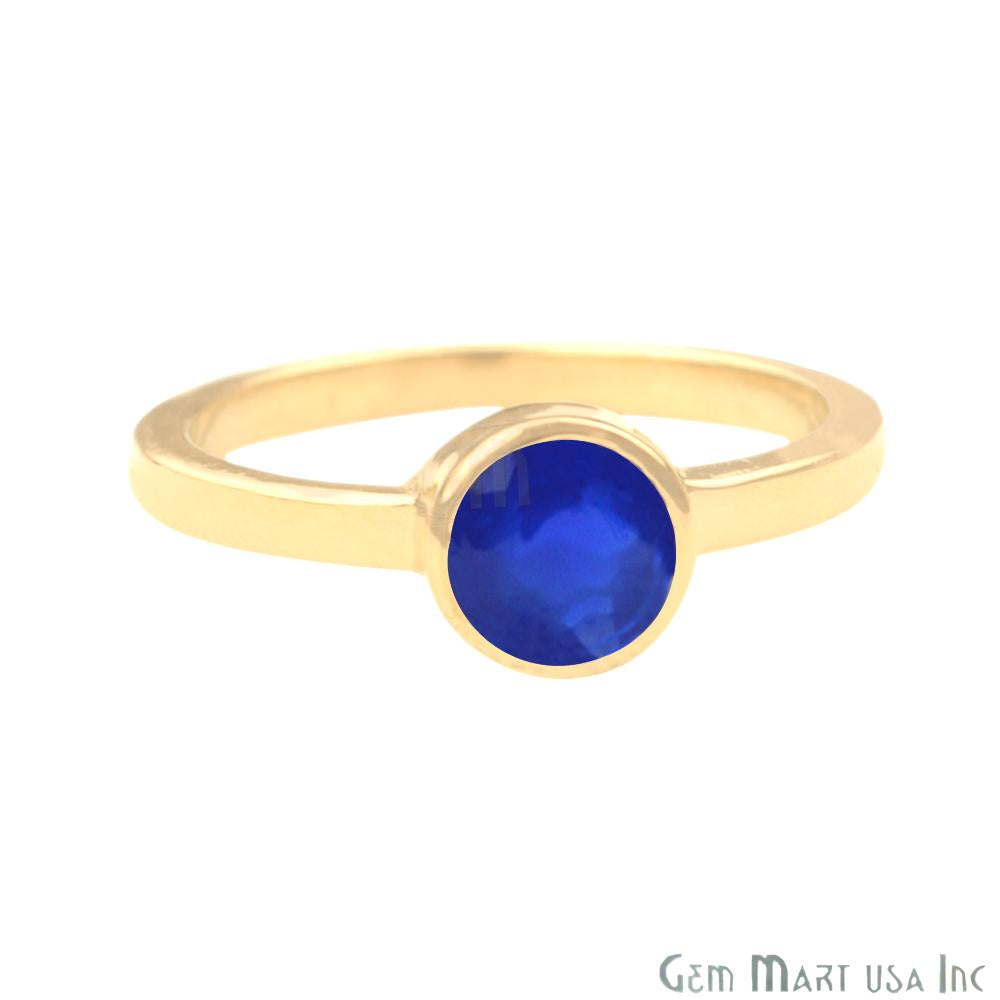Gold Plated Round Shape Single Gemstone Solitaire Ring (Pick your stone and size) (GP-12007)