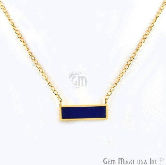 Rectangle Shape Gemstone Gold Plated Bar Pendant 18 Inch Long Necklace Chain (Pick your Gemstone)