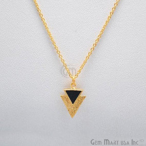 black onyx triangle gold pendant
