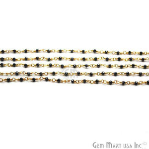 Black Pyrite Gold Plated Wire Wrapped Gemstone Beads Rosary Chain