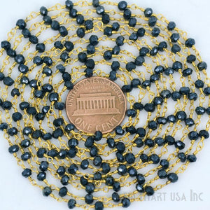 Black Pyrite Gold Plated Beaded Wire Wrapped Rosary Chain