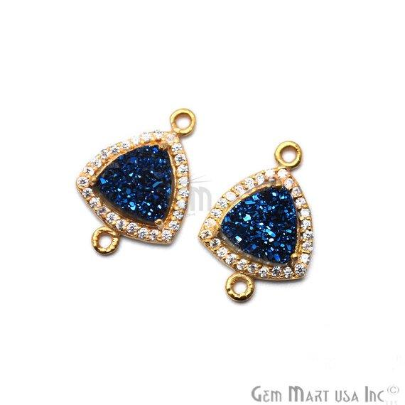 Druzy With Cubic Zircon Pave 8mm Trillion Gold Plated Double Bail Connector (Pick Your Color) 40019