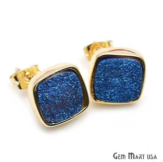 Square Shape 12mm Gold Plated Druzy Stud Earrings (Pick your Gemstone) (90002-1)