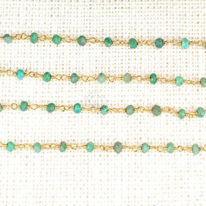 Chrysocolla 2.5-3mm Gold Plated Wire Wrapped Beads Rosary Chain
