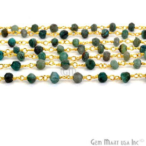 Round Chrysocolla Gold Plated Beaded Wire Wrapped Rosary Chain