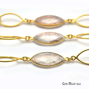 Copper Infused 12mm Marquise Shape Gold Plated Bezel Connector Chain - GemMartUSA
