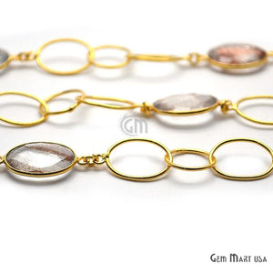 Copper Infused 16x12mm Oval Shape Gold Plated Bezel Connector Chain - GemMartUSA