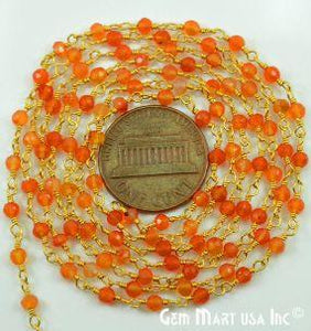 Carnelian 3-3.5mm Gold Plated Wire Wrapped Beads Rosary Chain