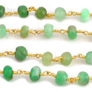 Chrysoprase 5-6mm Gold Plated Wire Wrapped Rosary Chain