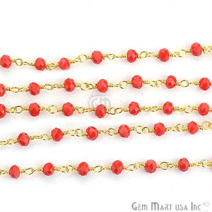 Red Coral 3-3.5mm Gold Plated Wire Wrapped Beads Rosary Chain